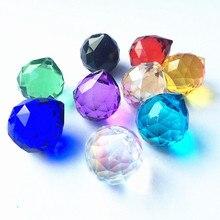 24 шт./лот 20 мм Красочные граненые стеклянные хрустальные шары для люстр части призмы освещение шары Suncatcher Свадебные украшения дома