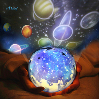 Creative Children Room Night Light Plastic Planet Earth Shape Holiday Gifts Kids Moon Lamp Bedroom Led Star Projector Decoration