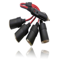 4 Socket Cigarette Lighter Power Adapter With Short Cord Triple USB Car Charger For IPhone IPad