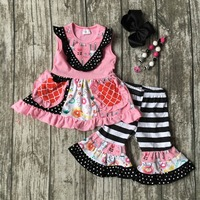 Baby girls summer clothing girls strip with floral ruffle capri pant outfits children summer fashipn clothing with accessories
