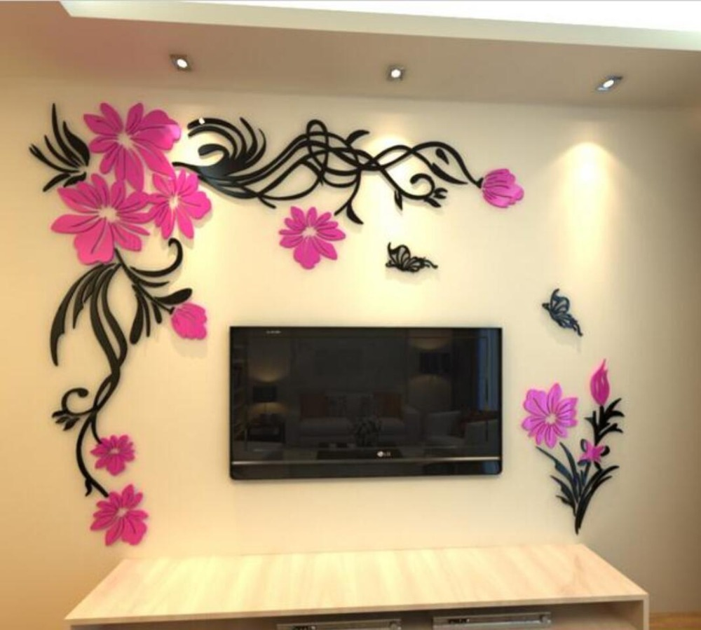 ⃝Crystal three-dimensional wall stickers Living room tv wall ...