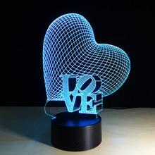 Lampa 3D Serce Love Illusion 7-Kolorów LED USB