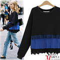 New 2017 European Fashion Designer Women Spring Full Sleeve Tee Tops Black Color O-Neck Ruffles Patchwork Casual T-Shirt 2189