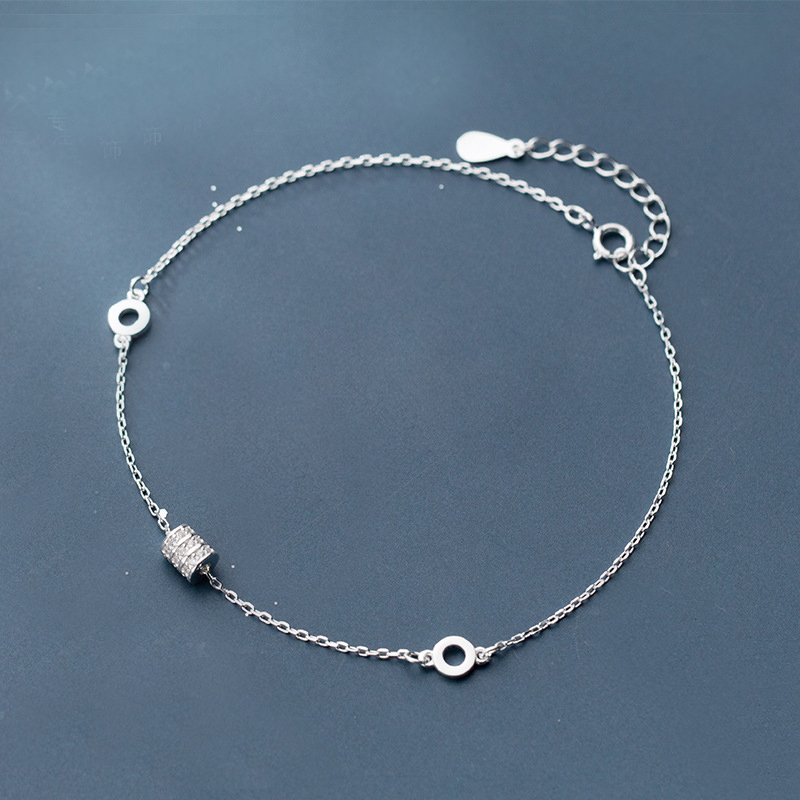 100% 925 sterling silver leaf anklet bracelet Beach Party Beads anklets for women bracelet jewellery