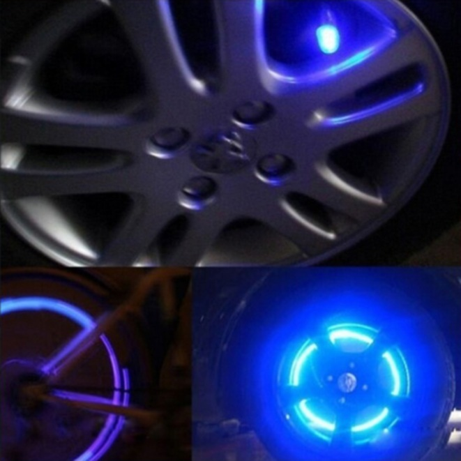 Image 3 - Car Styling Bike Supplies Neon Blue Strobe LED Tire Valve Caps 2PC LED Lamps For Cars Auto Accessories-in Decorative Lamp from Automobiles & Motorcycles