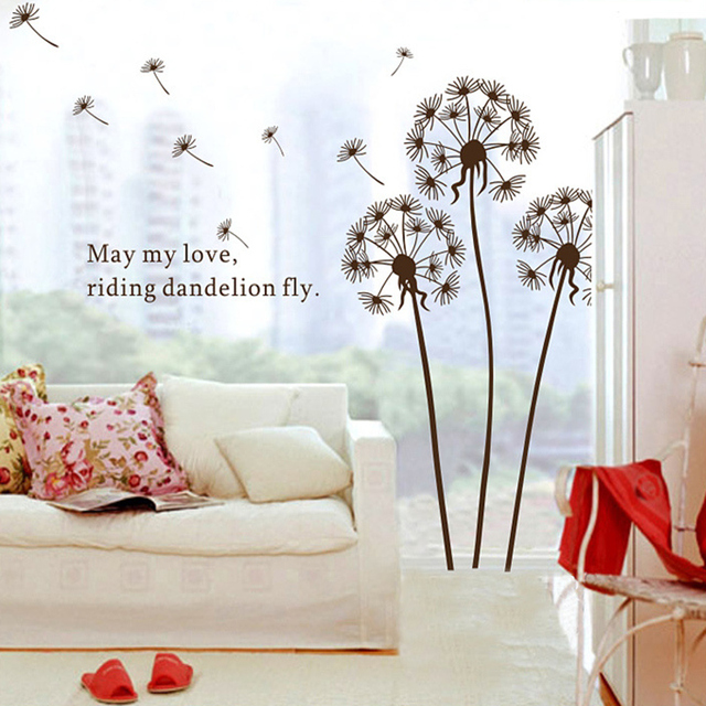 Small dandelions flowers wall stickers quotes art wall decoration for kids rooms vinyl stickers stickers