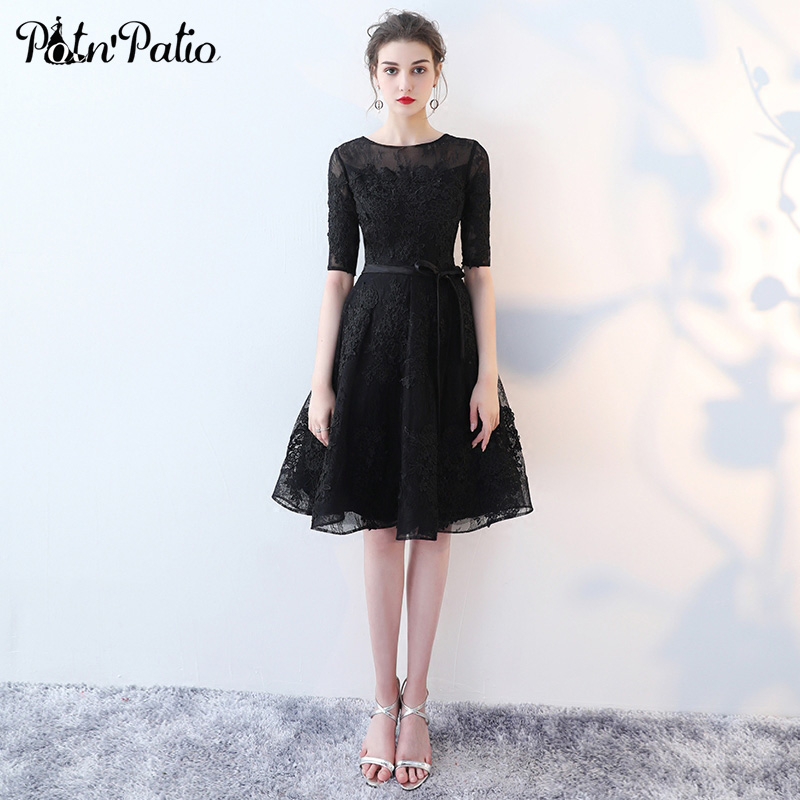 PotN'Patio Elgant O-neck Half Sleeves Black   Cocktail     Dresses   2018 New Short Lace Evening Party   Dresses