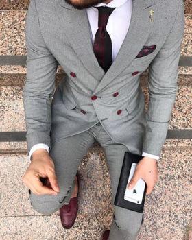 Coat Pants 2019 Light Grey Double Breasted Men Suits For Wedding Best Man Suit Groom Tuxedos For Men Peaked Lapel Groomsmen Suit