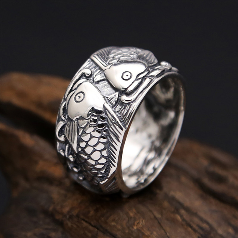 Solid Fine Silver 925 Double Fish Wide Band Mens Rings Vintage Antique Sterling Silver 925 Mens Jewelry Simple China Style RingsSolid Fine Silver 925 Double Fish Wide Band Mens Rings Vintage Antique Sterling Silver 925 Mens Jewelry Simple China Style Rings