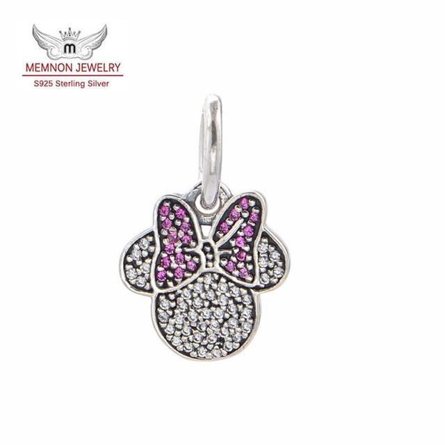 2015 joyería 925-sterling-silver Minnie encantos flotantes Fit marca Pulseras DIY regalo a mi ángel joyería Fina LW453