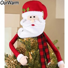 OurWarm Christmas Tree Topper Cotton Snowman Santa Claus Elk Hat Ornaments Xmas Party Decoration New Year 2019
