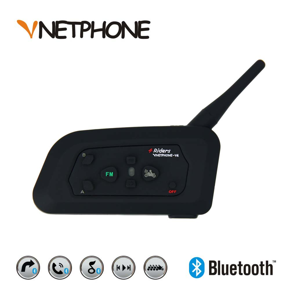 VNETPHONE V4 1200m Motorcycle Bluetooth Intercom Helmet Biker Interphone 4 Riders Headset Speaker Intercom For Helmet