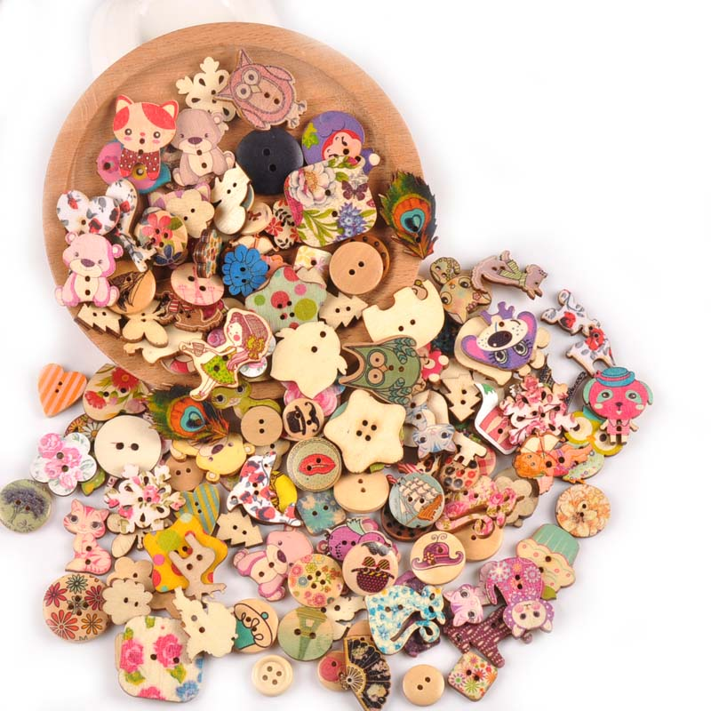 Amicable Vintage Mixed Painting Wooden Buttons For Crafts Scrapbooking Sewing Clothes Button Diy Kid Apparel Supplies 15-35mm M1893 Clear-Cut Texture