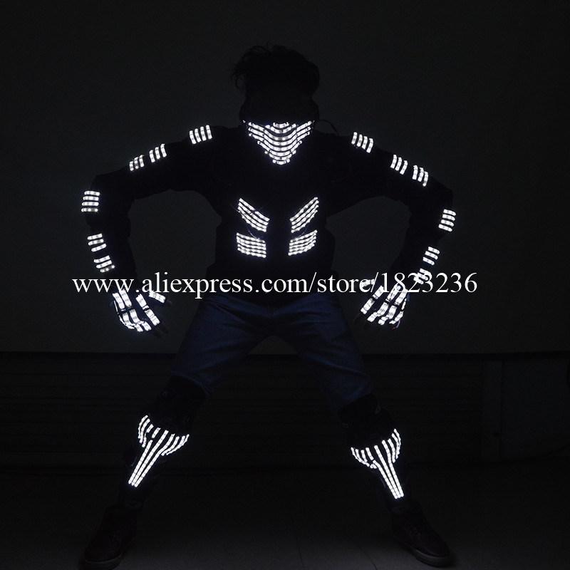 Cool LED Luminous Set Kostüüm Kneepad Mask Kindad Ballroom Dance - Pühad ja peod