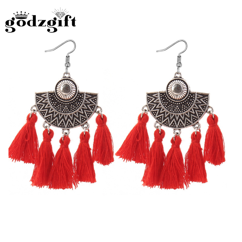 Godzgift Fashion Boho Ehinic Tassel Earrings For Women Alloy Clip Geometry Earring Jewelery Gifts New Discount Semicircle JE5156