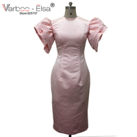 Халат De Bal Courte Африканский Высокая шея розовый платье для выпускного вечера 2018 оболочка чай Длина арабские платья для выпускного вечера веч