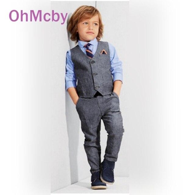 OhMcby 2017 New Spring Autumn Vest Tie Shirt Pant 4pcs Sets Children Clothing Kids Boys Clothes Gentleman Wedding Formal Suit