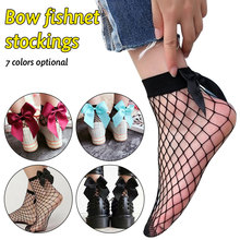 Hot High Quality casual Women Ruffle Fishnet Ankle High Mesh Lace Fish Net Short Socks Thin Design Solid New Bow Socks Net fish mesh ankle socks with side bowknot