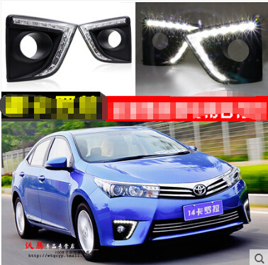ФОТО Hireno Car LED DRL Waterproof ABS 12V Daytime Running Lights for Toyota Corolla 2014 15 16 Fog lamp 2PCS