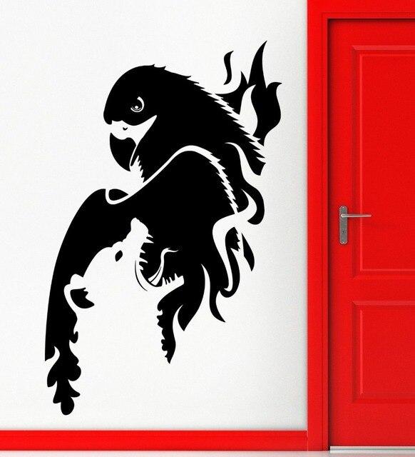 Wall sticker vinyl decal elang burung serigala predator hewan keren decor