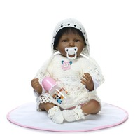 22 inch African American Baby Doll Black Girl Silicone Reborn Baby Dolls Ethnic Alive Dolls kids gift bonecas
