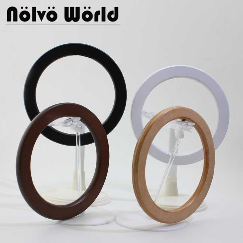 1 Pair=2 Pieces,14cm 5 Colors Wood Flat Edge White Ring Handle,change Female Bolsa Bag Circle Wood Round Handle