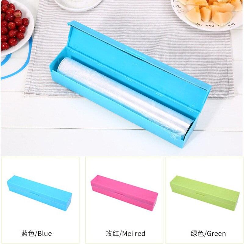 60pcs/lot New Plastic Kitchen Foil And Cling Film Wrap Dispenser Cutter Storage Holder 3 Color
