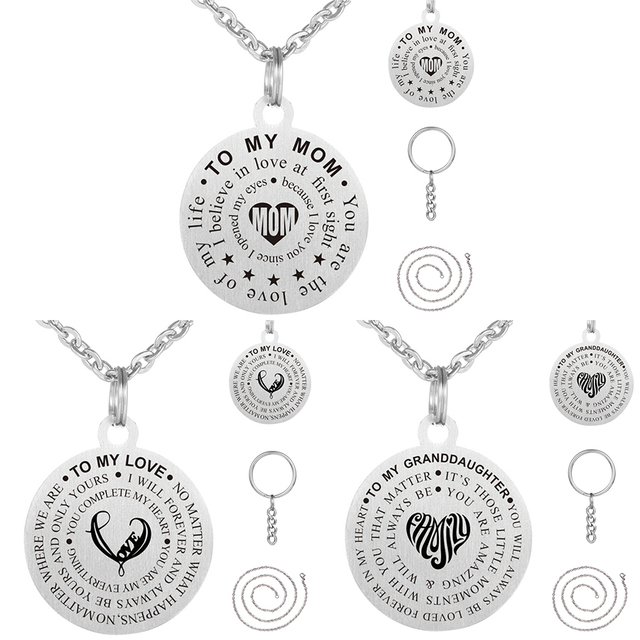 Stainless Steel Mother Son Pendant Necklace Name Plated Dog Tag To My Gifts Necklaces