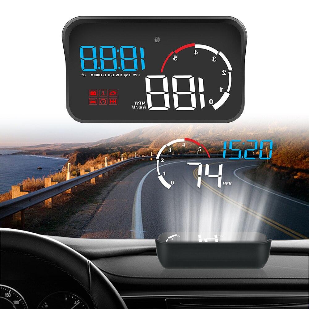 LEEPEE OBD2 Overspeed Warning Car HUD Display M10 A100 Windshield Projector Intelligent Alarm System Universal