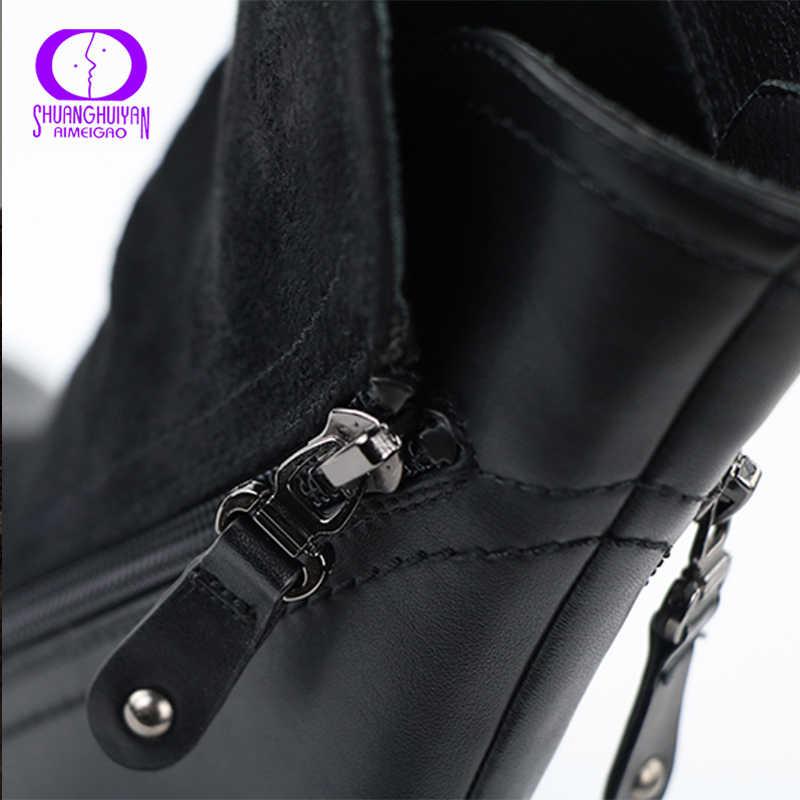 AIMEIGAO Sonbahar Kış Orta Buzağı Çizmeler Kadınlar Çift Fermuarlı Sıcak Polar siyah çizmeler Kadın PU Deri Katı Süet Patik Kadınlar
