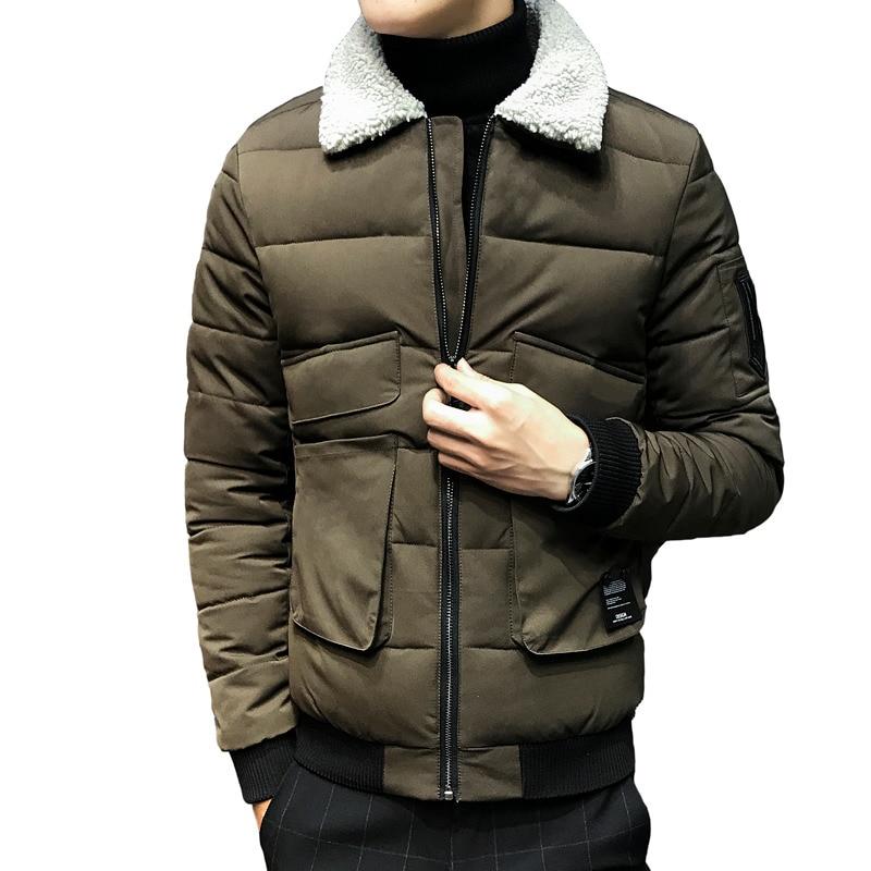 chaqueta invierno hombre winter men puffer fashion winter <font><b>bomber</b></font> <font><b>jacket</b></font> lamb collar black green quilting coat slim fit 4xl 5xl