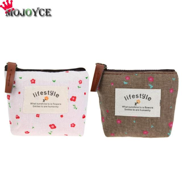 MOJOYCE Women Pastoral Money Bag Canvas Small Coin Purse Floral Key Holder Wallet Mini Wallet Holder Zip Coin small Bags