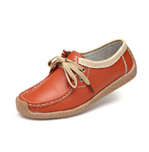 [C]2017 Four Seasons Paragraph Women Flat Shoes Soft Bottom non-slip Tendon Youth Peas Shoes Genuine Leather .LLX-A-65