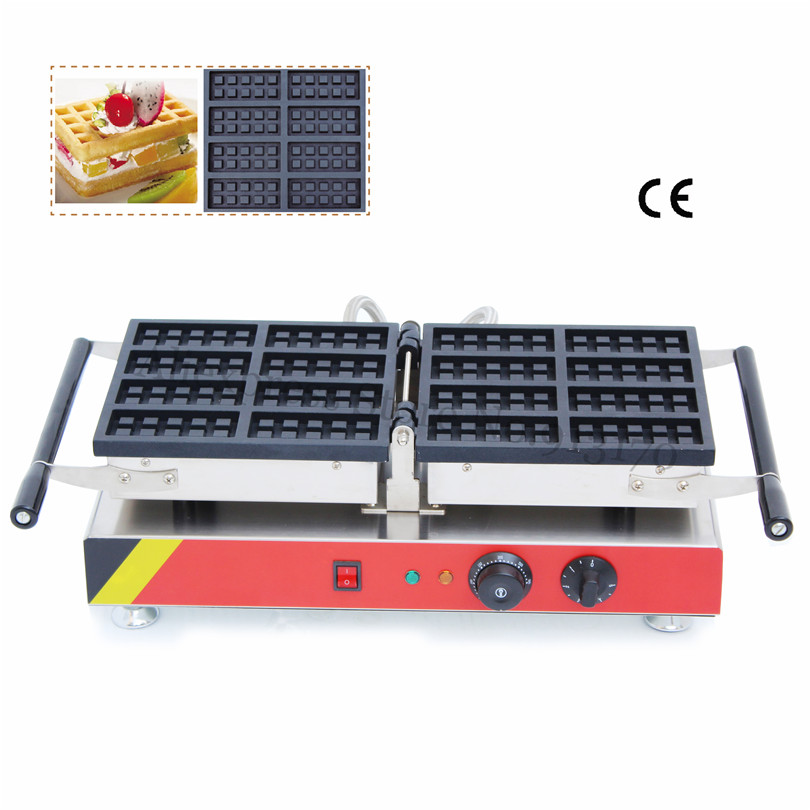 8pcs In One Rectangle Waffle Baker Maker Commercial Belgian Waffle Machine Nonstick Cooking 220V 110V Brand New brand new smt yamaha feeder ft 8 2mm feeder used in pick and place machine