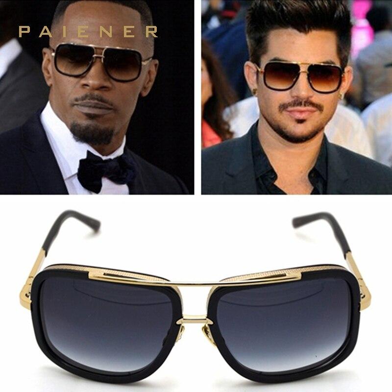 Flat Top caliente cuadrados Gafas de sol hombres mujeres marca de lujo diseño pareja señora Celebrity Brad Pitt Sol Gafas gafas súper estrella