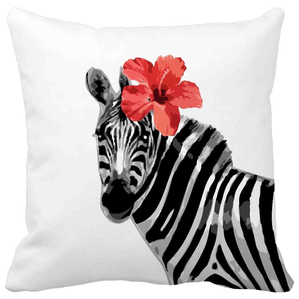 Acuarela creativo cebras y estampado de flores rojo cojines