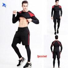 a2addfb7783e1 3 piezas hombres gimnasio ropa deportiva hombre elástico corriendo  conjuntos de secado rápido camisetas de baloncesto traje de e.