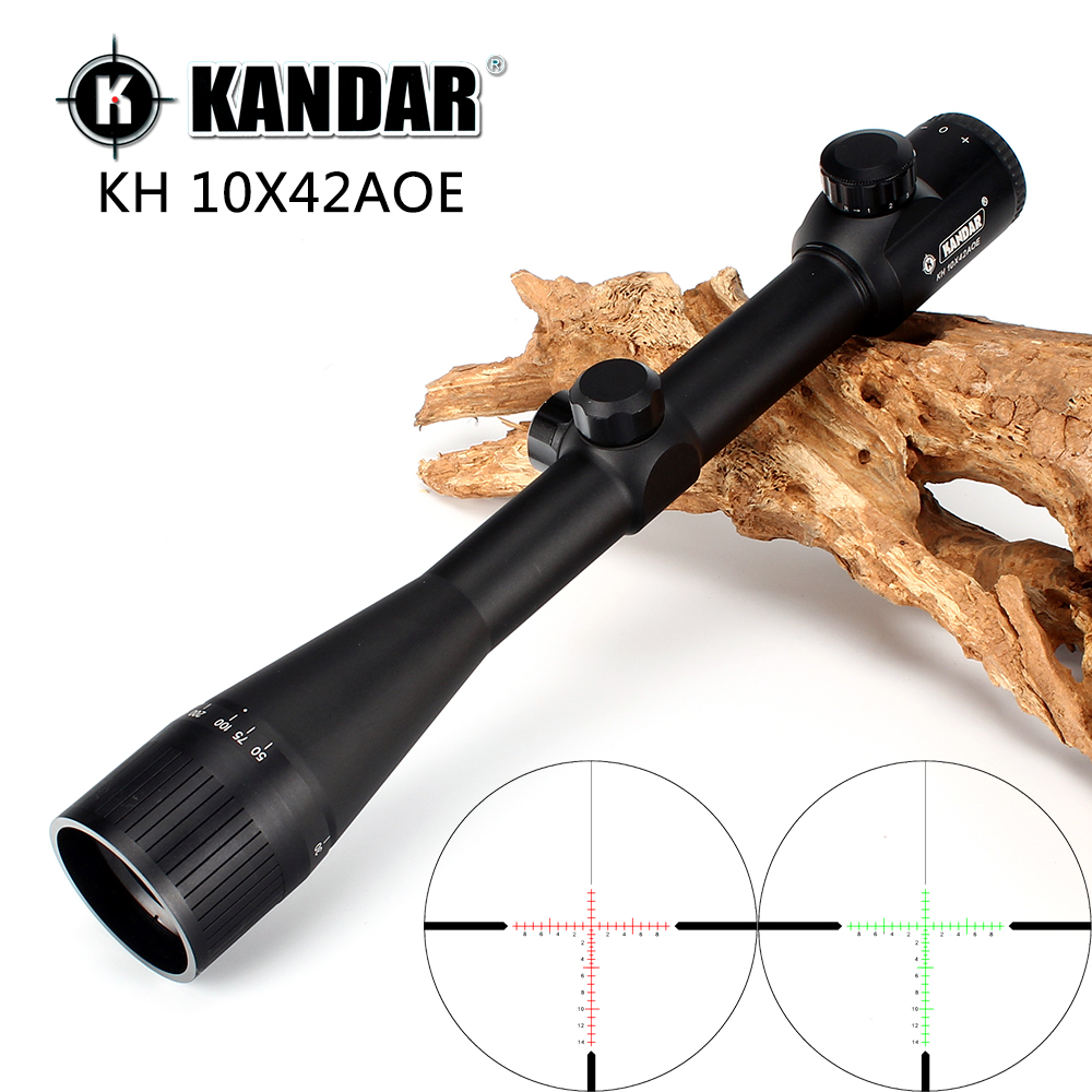 KANDAR 10x42 AOE Glass Reticle Red Illuminated RifleScope Fixed Magnification 10x Hunting Rifle Scope Tactical Optical Sight kandar 6 18x56q front tactical riflescope big objective with glass plate riflescope military equipment for hunting scopes