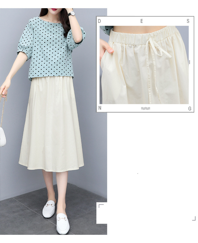 S-3xl Summer Cotton Linen Korean Women Two Piece Outfits Sets Plus Size Dot Print Tops And A-line Skirt Suits Casual Office Sets 52