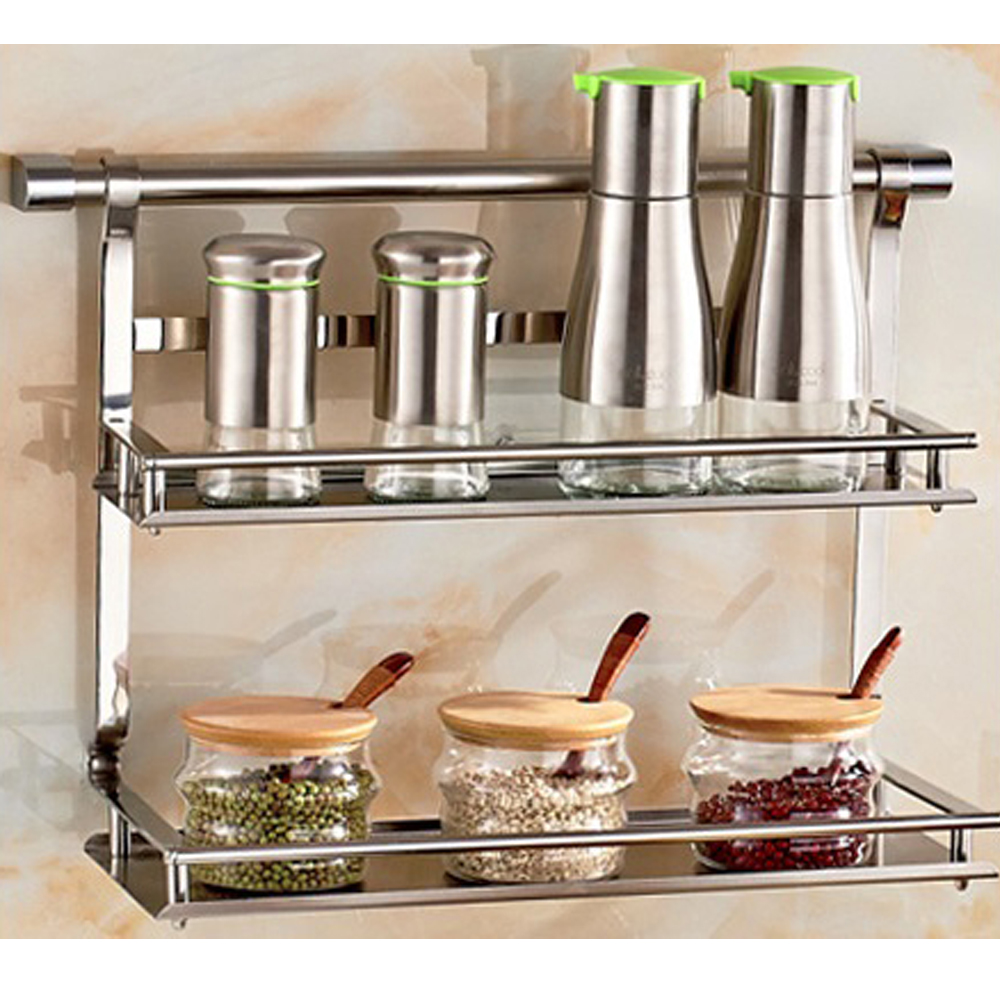 Guh Stainless Steel Kitchen Storage Rack Shelf Bathroom Double Layer E Jar In Holders Racks From Home