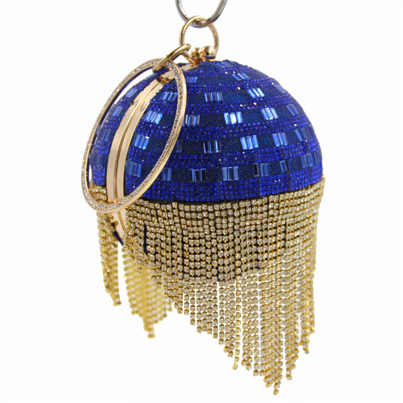 Women Wedding Dress Bridal blue Crystal Diamond Tassel Round Evening Clutches Wristlets Handbags Metal Hard Case Clutch Bag golden crystal diamond rabbit women evening clutch bags bridal wedding dress handbags shoulder purses hard case metal clutches