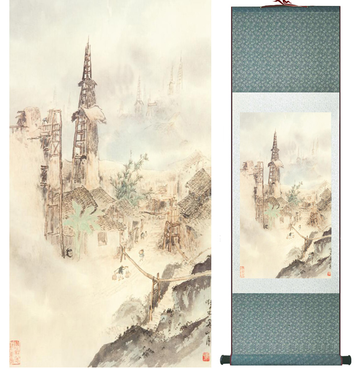 landscape painting Home Office Decoration Chinese scroll painting mountain and River paintingPrinted painting042608