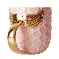 420 ml 14 OZ Pink Blue Mermaid Mug with Gold Fish Tail Handle Novel Coffee Milk Mug Drinking Supplies Wedding Gift DEC443