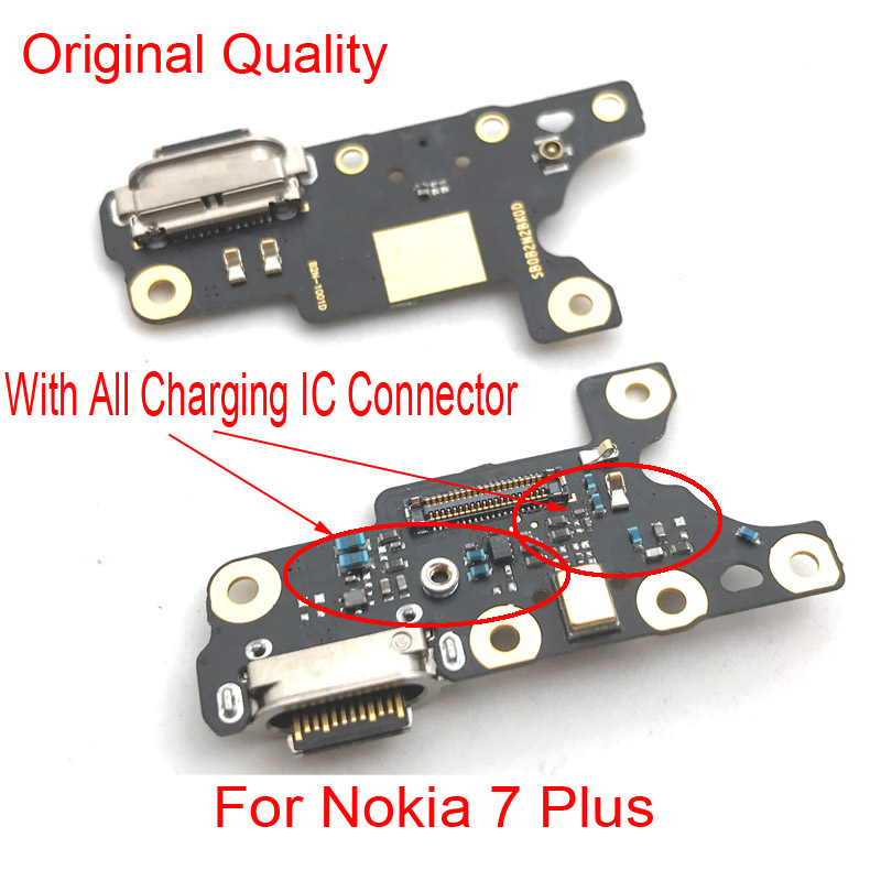 New For Nokia 7 Plus 7+ TA-1049 1055 1062 Charger Charging Port Dock Connector Micro USB Port Flex Cable Board Repair Parts