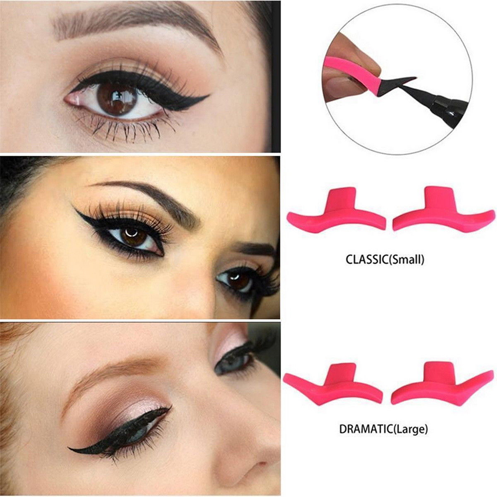 2PCS  Pink Color Beauty Makeup Eyeliner Wing Stamps Easy to Make up Plastic  Eyeliner Guide Stamp Sexy Cat Eye Cosmetic Tools(China)