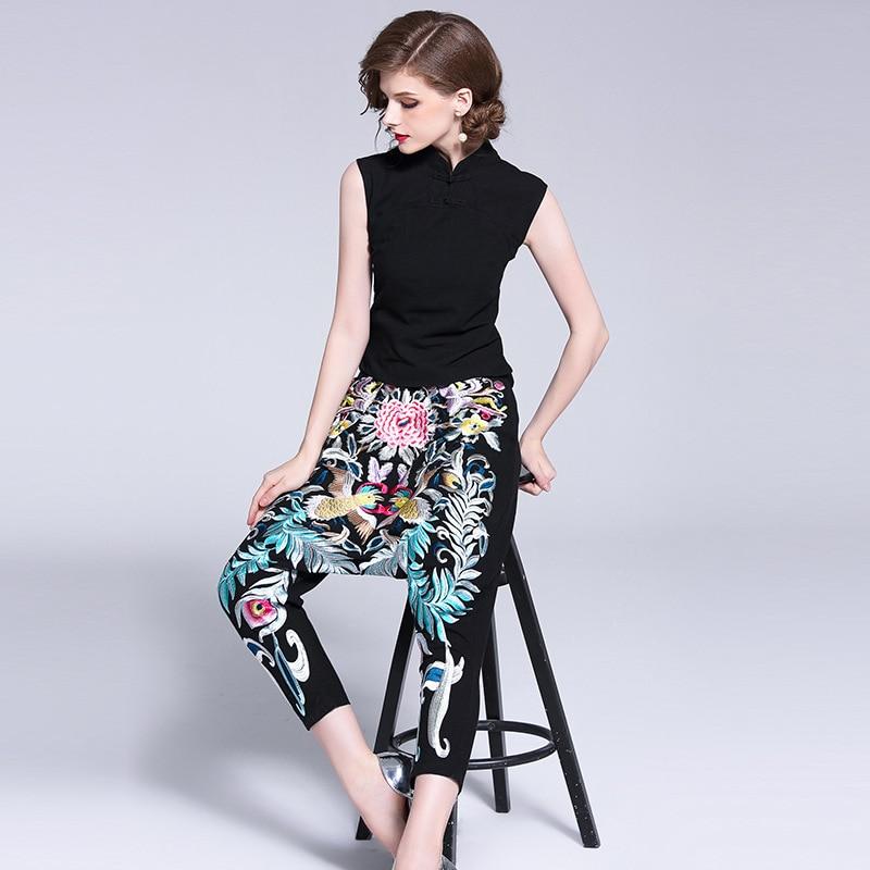 Fashion 2 Pieces Women Pants Sets High Quality Elegant Hot Sleeveless Black Tops Harem Pants Fashion