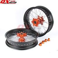 3.5/5.0*17 Supermotard Wheels 2008 2007 Orange Hub Black Rim For SXF EXC R XC F SX EXC 300 450 125 250 350 530 2003 2017