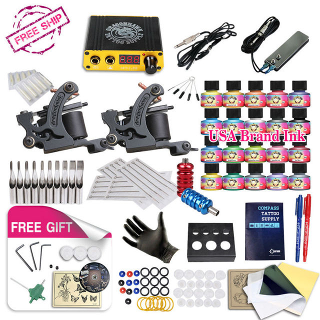 Free Ship DIY 2 Tattoo Machine Complete Kit  20 Color USA Tattoo Inks Tattoo Power Supply With Free gift