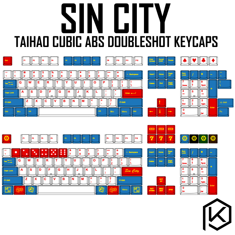 Taihao Cubic Abs Doubleshot Keycaps For Diy Gaming Mechanical Keyboard Color Of Sin City White Blue Iso  High Quality