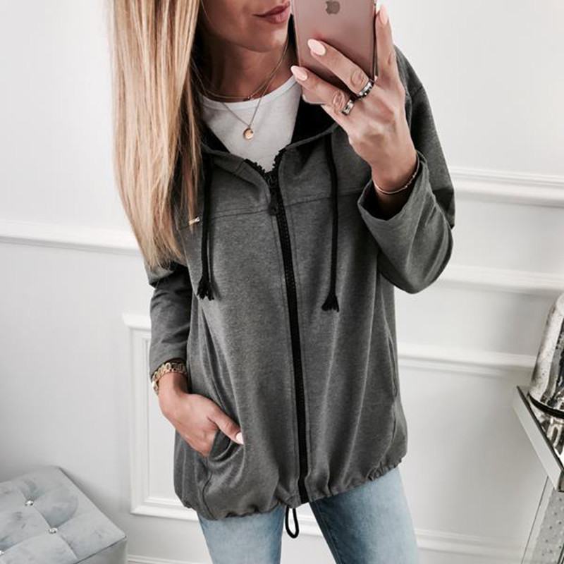 New 2019 Harajuku Hoodies Women Casual Loose Solid Cotton Zipper Up Hoodies Sweatshirts Outwear Long Sleeve Hoodies Feminino
